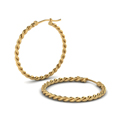 rope hoop earring for women in 14K yellow gold FDEAR1100ANGLE2 NL YG