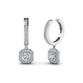 asscher cut diamond halo hoops earrings in 14K white gold FDEAR1185AS NL WG