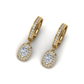 cushion cut diamond halo hoops earrings in 14K yellow gold FDEAR1185CUANGLE2 NL YG