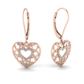 filigree heart diamond gold earring in 14K rose gold FDEAR650069ANGLE1 NL RG