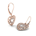 filigree heart diamond gold earring in 14K rose gold FDEAR650069ANGLE2 NL RG