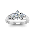 marquise cut baguette bar and marquise diamond engagement ring in 14K white gold FDENR1120MQRANGLE5 NL WG