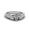 marquise shaped diamond milgrain pattern side stone engagement ring in 14K white gold FDENR7325MQR NL WG