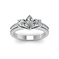 marquise shaped diamond milgrain pattern side stone engagement ring in 14K white gold FDENR7325MQRANGLE5 NL WG