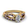 cushion cut pave split shank diamond engagement ring with blue sapphire in 14K yellow gold FDENS3303CURGSABL NL YG