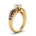 cushion cut pave split shank diamond engagement ring with blue sapphire in 14K yellow gold FDENS3303CURGSABLANGLE2 NL YG