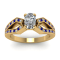 cushion cut pave split shank diamond engagement ring with blue sapphire in 14K yellow gold FDENS3303CURGSABLANGLE5 NL YG
