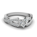 heart shaped twist pave accented diamond engagement ring in 14K white gold FDENS3319HTR NL WG