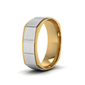 14K white gold 2 tone gold texture square mens wedding band ring FDMSQ1143BANGLE2 NL WG