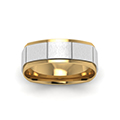 14K white gold 2 tone gold texture square mens wedding band ring FDMSQ1143BANGLE5 NL WG