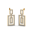 open square round diamond drop earring for women in 14K yellow gold FDOEAR40607ANGLE1 NL YG